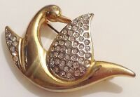 broche vintage cygne couleur or incrusté de cristaux diamant brillance 419