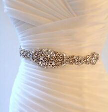 Bridal Wedding Gold Rhinestone Crystal Encrusted Diamante Sash Dress Ivory Belt