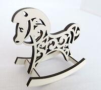 Small Handmade Wooden Rocking Horse Decoration Toy, Christmas Decor
