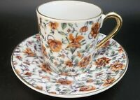 Vintage Demitasse Japanese Tea Cup Saucer Porcelain Orange Roses Daffodil Chintz
