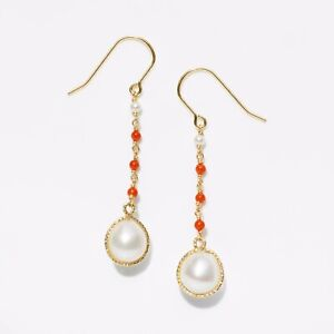 """Handmade!Luster 8-9mm White Pearl&Coral Earrings 14K Yellow Gold Filled,1.8"""""""