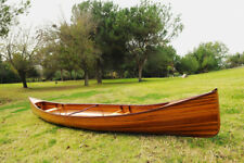 Real Handcrafted Canoe 16 Ft & Paddle Western Red Cedar Wooden Boat Without Ribs