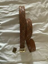 NWT CANALI BELT LEATHER 44 110 LIGHT BROWN WEAVE