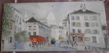 """Nicolas AUBURTIN Peinture vintage  Huile / panneau """" Montmartre Le sacré coeur """""""