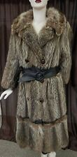 """Raccoon Fur 44"""" Vintage Coat with leather detail and leather belt, size 6"""