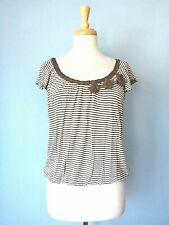 Max Studio Brown Striped Stretchy Pleated Cap Sleeve Tee Knit Top Blouse Women S