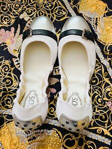 Tod's  Ballet Flat White leather Women Size EU 38 US 8 Authentic