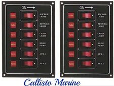 2 X Marine 6 Gang IP65 Fuse Switch Panel 12V (BLACK) /Boat / Yacht/Caravan