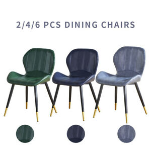 2/4/6 Faux Leather Dining Chairs Set Metal Legs Modern Living Room Home Office
