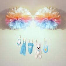 7 x baby shower tissue paper pompoms hanging wedding party birthday decorations