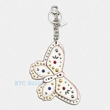 New Coach F58996 Studded Butterfly Bag Charm Chalk Smooth Leather NWT