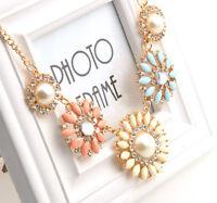 Elegant Fashion Resin Rhinestone Flower Shape Collar Bib Charm Color Necklace J8