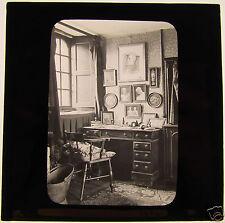 Glass Magic lantern slide AN  EDWARDIAN STUDY HOUSE DATED 1902