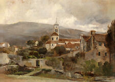 Art Oil painting village landscape with farmer's house and church on canvas