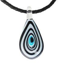 LUCKY Evil Eye Murano Glass protezione CIONDOLO in nero e bianco