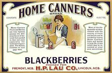 "RARE ORIGINAL 1915 ""HOME CANNERS BRAND"" BLACKBERRIES CAN LABEL LINCOLN NEBRASKA"