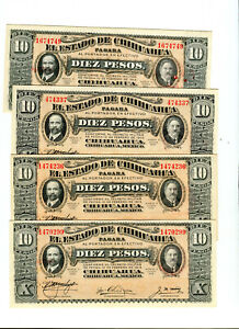 4 Cu 1914 Pancho Villa 10 Peso Mexican Revolution Banknotes,4 Diff Series Issues