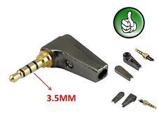 Gold 4 Pole 3.5mm 90 Degree Male stereo earphone headphone mini Jack Plug Audio