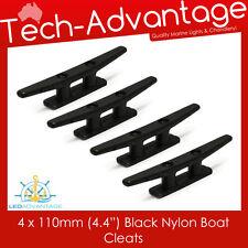 4 x 110MM UV RESISTANT SMALL COMPACT BLACK NYLON BOAT YACHT MARINE CLEATS