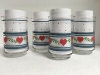 Set of 4 Libbey Red Hearts Blue Stripes Juice Glasses 6 oz.