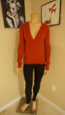 Great Roxy size large hoodie sweater v-neck in brick red 100% acrylic wonderful