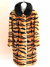 VINTAGE ANIMAL PRINT REAL FUR COLLAR FAUX FUR COAT SIZE 8.REG