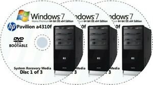 HP Pavilion a4310f Factory Recovery Media 3-Discs / Windows 7 Home 64-bit