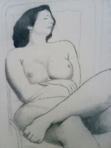 Nude Woman Sleeping in Chair-26 x 20 Charcoal Drawing-1950s-August Mosca