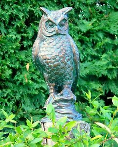 Large Long Eared Owl Garden Statue Sculpture Cast Iron with Aged Bronze Finish