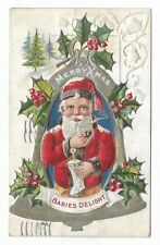Embossed CHRISTMAS PC showing Santa with pipe, silver bell, holly, Circa 1910