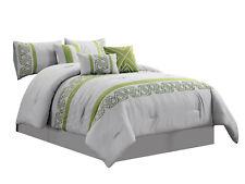 11-Pc Nico Comforter Curtain Set |Geometric Triangle|Gray Sage Green|Queen