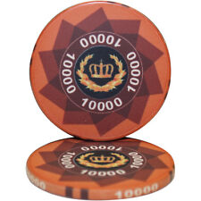 50pcs LAUREL CROWN CERAMIC POKER CHIPS 10000 DENOMINATION