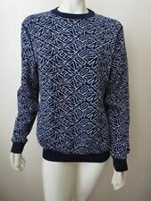 KENZO Navy / White Reversible Logo Intarsia Knit Sweater L NWOT