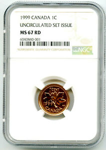 1999 CANADA CENT NGC MS67 RD COPPER UNCIRCULATED SET ISSUE COIN POP5 PENNY
