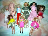 Mattel lot (9) Vtg dolls Starr Stacie Ken clone Lila Skipper Courtney (H9 22)