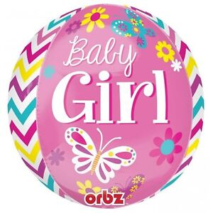 BEAUTIFUL BABY GIRL ORBZ FOIL BALLOON BABY SHOWER PARTY DECORATION BUTTERFLIES
