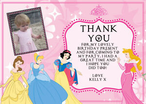 Personalised Photo Disney Classic Princess Birthday Thank You Cards + envs D1TY