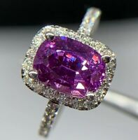 GIA Cert 3.2 Ct VIVID Pink Purple NO HEAT Sapphire Diamond Ring 14k White Gold