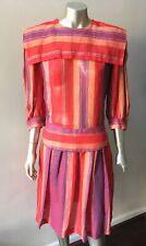 Linen Stripe Vintage 80s Retro Puritan Collar Button Back Party Dress Sz M 10
