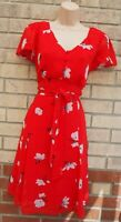 PEPPERBERRY RED WHITE FLORAL HALF BUTTONED BELTED SKATER FLIPPY TEA DRESS 12 M