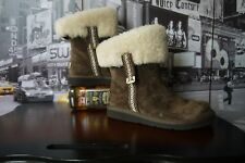 UGG Metro Tas  Espresso Brown Suede Shearling Ankle Boots S/N 5677 EU 36 / US 5