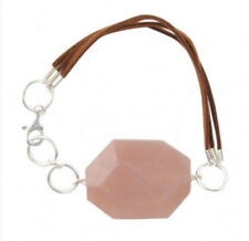 Barse Brand Genuine Carnelian Stone Brown Leather and Sterling Silver Bracelet
