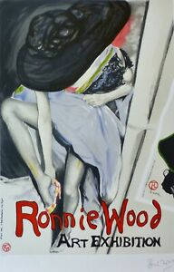 """RONNIE WOOD """" Jo with Hat """" HAND SIGNED ROLLING STONES RON LITHOGRAPH 34x25 COA"""