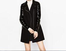ZARA Woman BNWT Black Contrasting Patent Finish Biker Coat Size S Ref. 5854/227