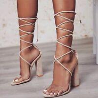 Womens High Block Heels Bandage Lace Up Gladiator Sandals Clubwear Shoes Big SZ