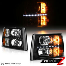 2007-2013 Chevy Silverado 1500 2500HD 3500HD BUILT IN LED STRIP Black Headlights