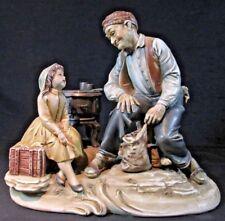 1970's ~ A Borsato ~ CHESTNUTS & TALES ~ Man w/ Daughter Porcelain Figurine #962