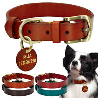 Soft Plain Dog Collar & Personalised Matching Leather ID Tag Small Medium Large