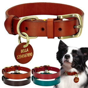Genuine Leather Dog Collar & Personalized ID Leather Tag Heavy Duty Metal Buckle