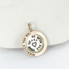 Heather B Moore Charm Pendant Wherever You Go 14K Rose Gold Sterling Sz 6 $790